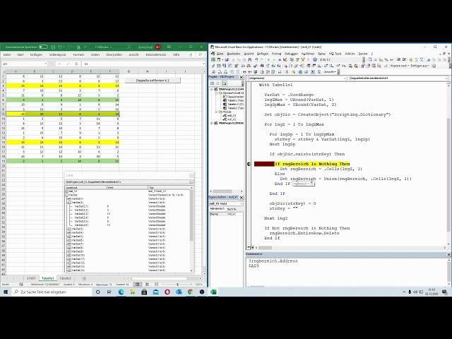 211: Excel-VBA: Zwei Varianten: Doppelte Daten entfernen, wenn mehrere Spalten gleich sind