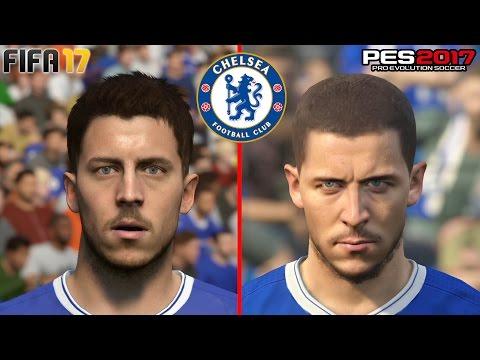 FIFA 17 vs PES 2017 - Chelsea Face Comparison (PS4) @ 1080p HD ✔