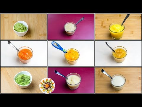 9 Fruit Purees for 4+ / 6+ Month Baby | Stage 1 Homemade Baby Food | Healthy Baby Food Recipes