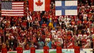 team canada wins men s ice hockey gold medal singing of o canada canadian national anthem