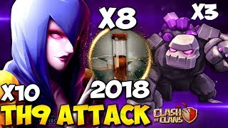 8 EARTHQUAKE : WITCH BOOM TH9 INSANE!!! WAR ATTACK STRATEGY 2018 | Clash of Clans