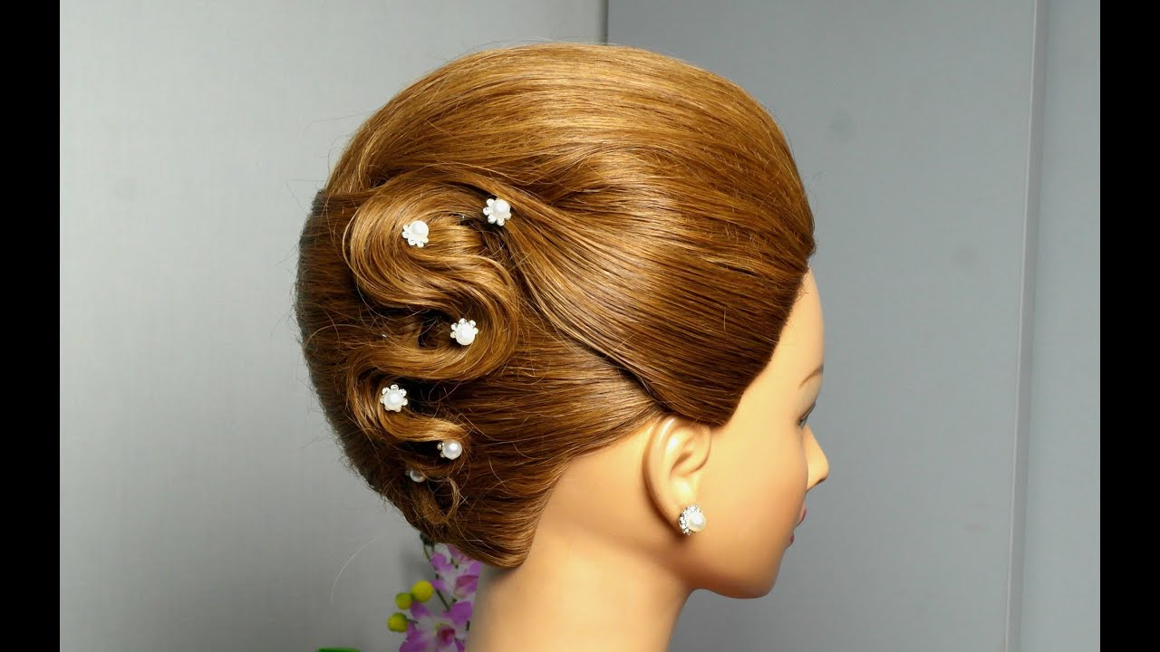 Hair Style Videos Youtube: French Twist Hairstyle For Long Hair. Elegant Updo.