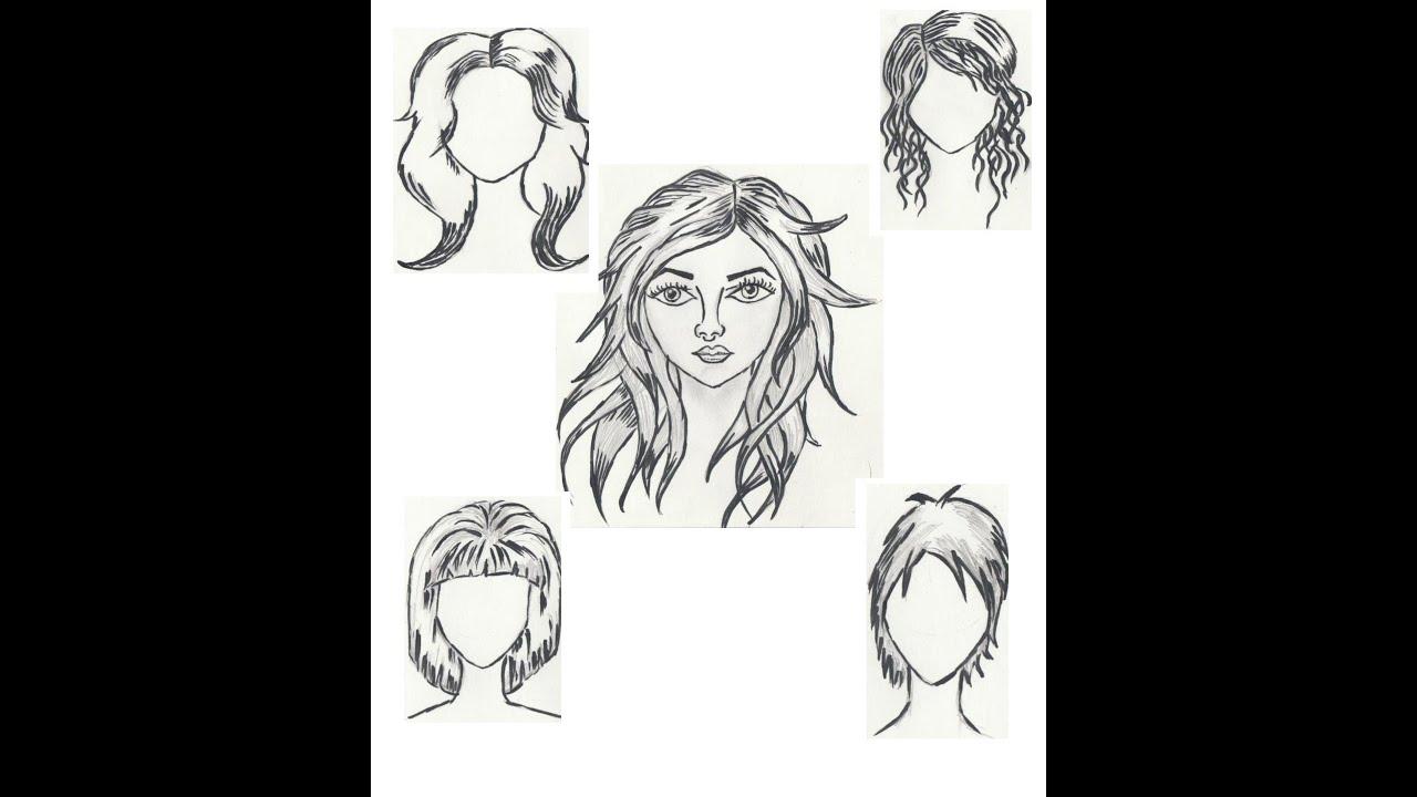 How to draw hair - Tutorial (5 Ways) - YouTube