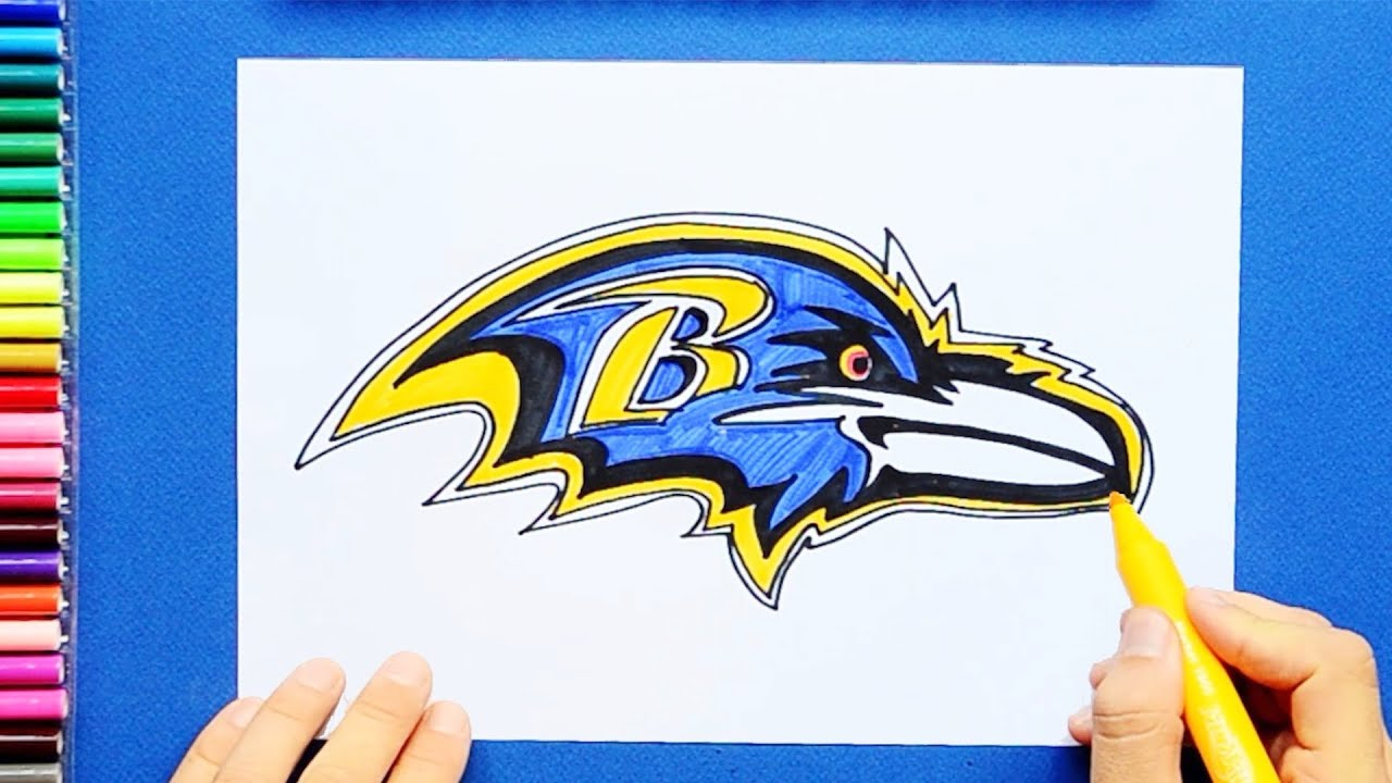 how to draw a ravens logo