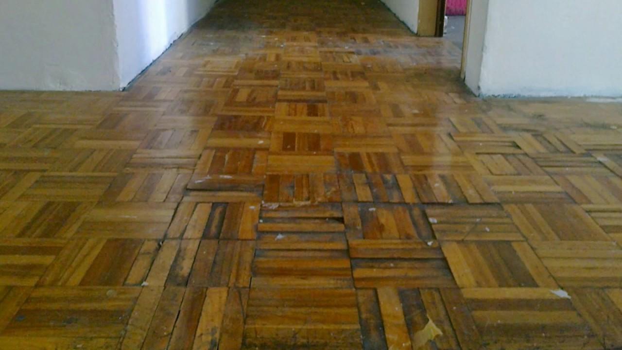Recuperamos totalmente parquet pegado de eucaliptus blanco - Reparar piso parquet ...