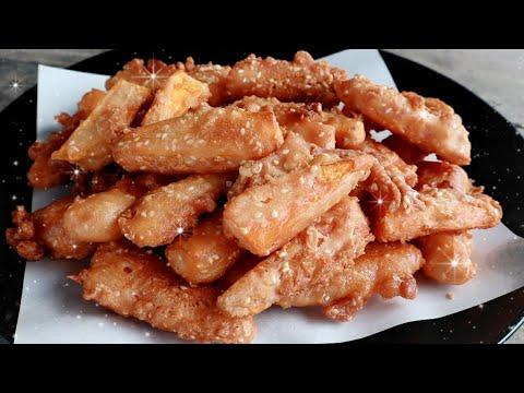 วิธีทำมันทอดกรอบ ไม่อมน้ำมัน เคล็ดลับผสมแป้งให้กรอบนอกนุ่มในแบบง่ายๆ Fried sweet potato repice