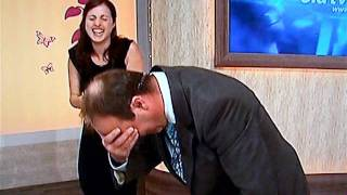 peter simon bid tv gets spilt with talcum powder funny Thumbnail