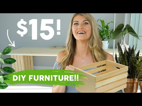 4 DIY PROJECTS using ONLY INEXPENSIVE WOODEN CRATES!! // (DIY DESK, DIY CLOSET, AND DIY SHELVING)