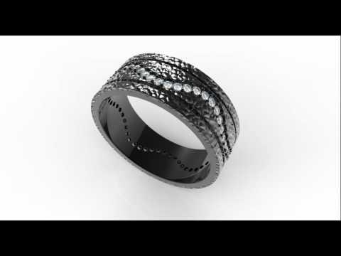 Men's Hammered Black Gold Diamond Wedding Band-Unique Diamond Ring Design
