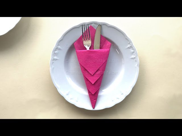Servietten falten: Bestecktasche falten für Hochzeit, Geburtstag, Weihnachten