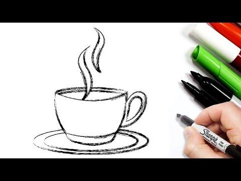 رسم سهل رسم فنجان قهوة بالرصاص تعليم الرسم رسومات بالرصاص للاطفال Easy Drawings Youtube
