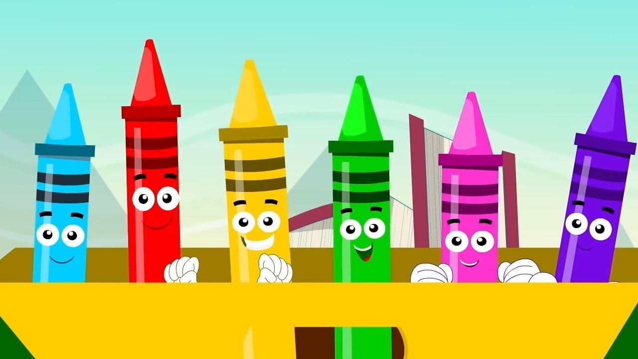 мелки цвет песня   выучить названия цветов   русские названия цветов   Crayons Color Song