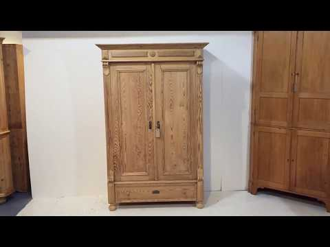 A Small, Decorative, Antique Double Wardrobe - Pinefinders Old Pine Furniture Warehouse
