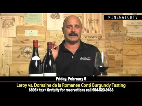 Leroy vs Domaine de la Romanee Conti Burgundy Tasting at Wine Watch - click image for video