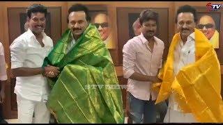 mk stalin அவர்களிடம் ஆசி பெற்றார் udhayanidhi stalin and anbil mahesh |STV