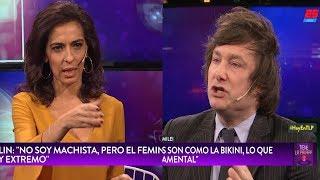 Javier Milei discute con la conductora por la brecha salarial de género, TN- 15/07/18