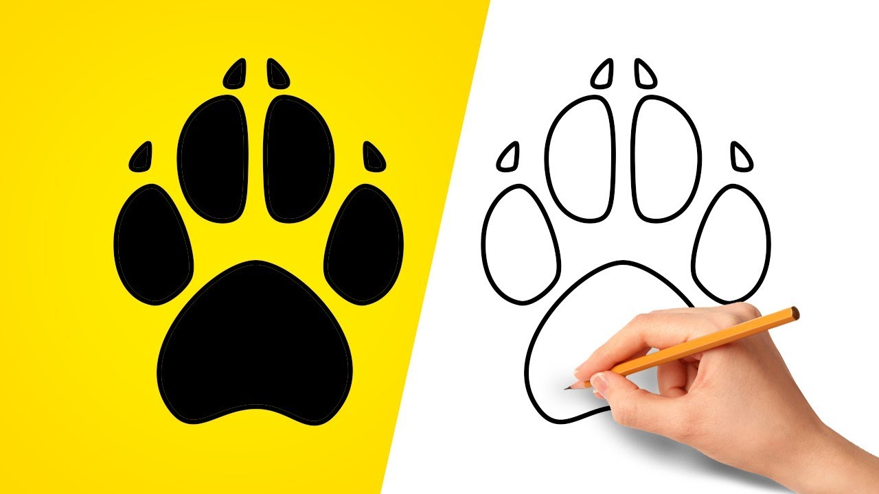 How To Draw A Dog Paw Print Step By Step Youtube