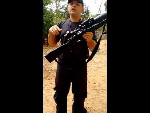 Munição hiper com rifle 8022, disparo a curta distância.