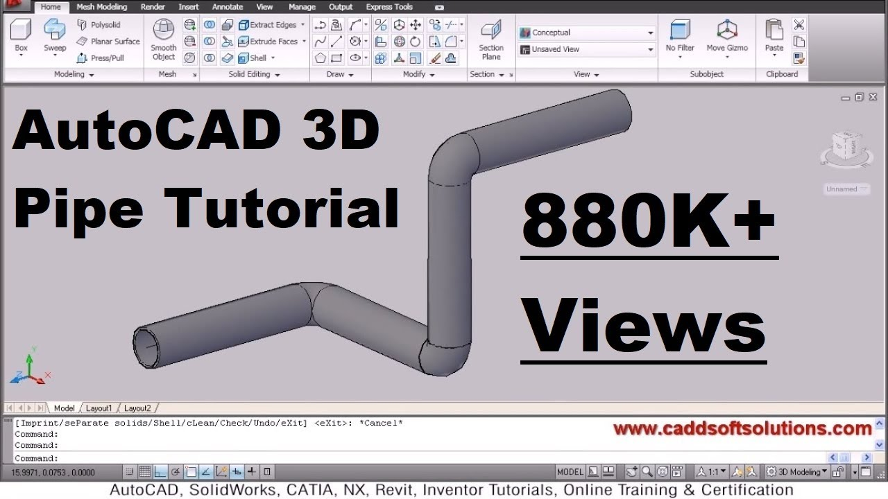 Autocad 3d Pipe 3d Piping Tutorial Youtube