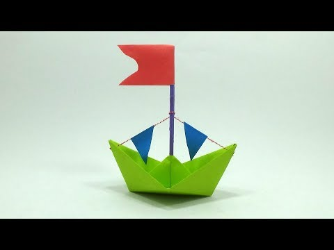 How To Make Paper Boat With Flag | DIY Origami Pirates Boat Making