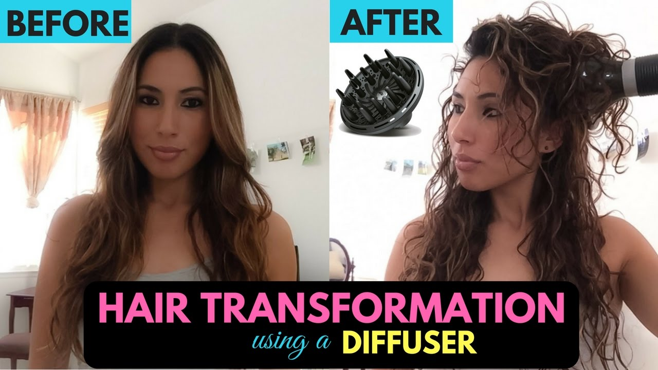 Diffuser On Straight Hair Transformation To Curly Youtube