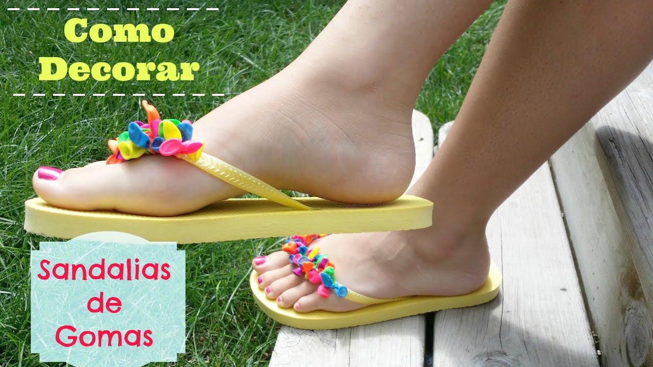 Como decorar sandalias playeras flip flops alicia - Decorar pared con tela ...