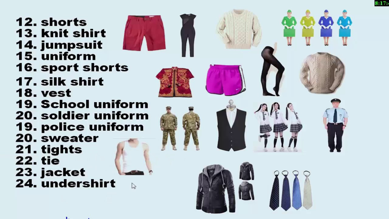 Names Of Clothes In English Khmer
