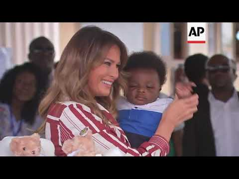 Melania Trump visits baby clinic in Ghana