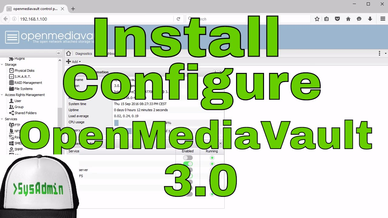 How to Install & Configure OpenMediaVault 3 0 + Review + VMware Tools on  VMware Workstation [HD]