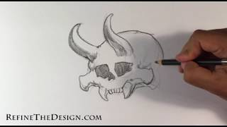 How to Draw a Demon Skull (Tattoo Style )