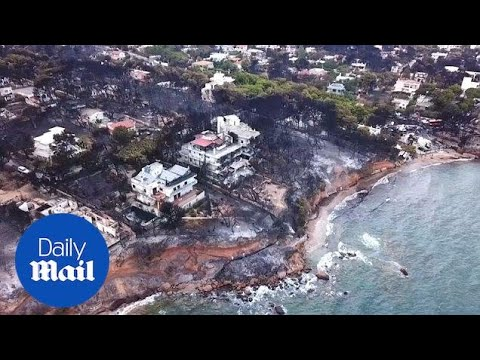 New drone footage shows the devastating damage Greek wildfires inflicted - Daily Mail