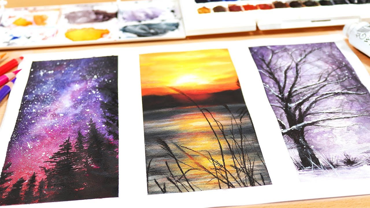 3 EASY WATERCOLOR PAINTINGS FOR BEGINNERS - YouTube