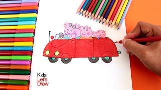 Cómo dibujar el AUTO DE PEPPA y su Familia | How to draw Peppa Pig