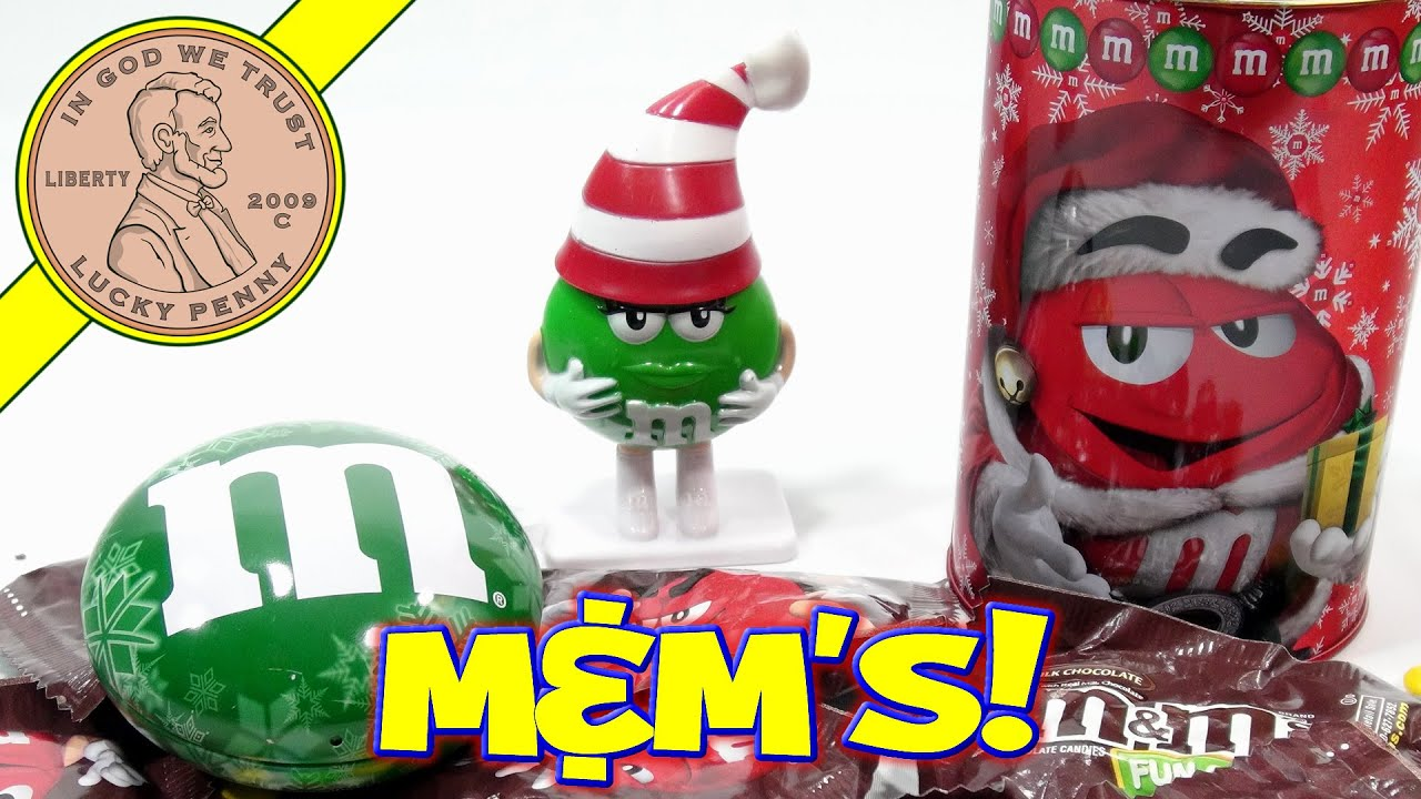 M&M Christmas Assortment - Tins, Ornaments & Dispensers! - YouTube