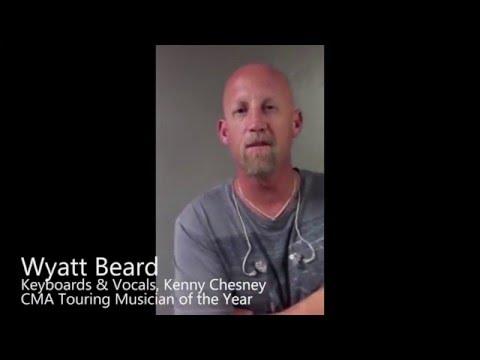 Wyatt Beard, Keyboard/Vocals, Kenny Chesney, on the REV33 Ear Fatigue Reduction