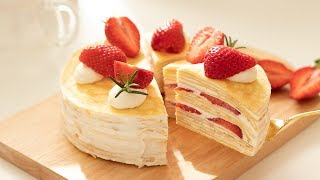 Strawberry Crepe Cake*Without Oven|HidaMari Cooking