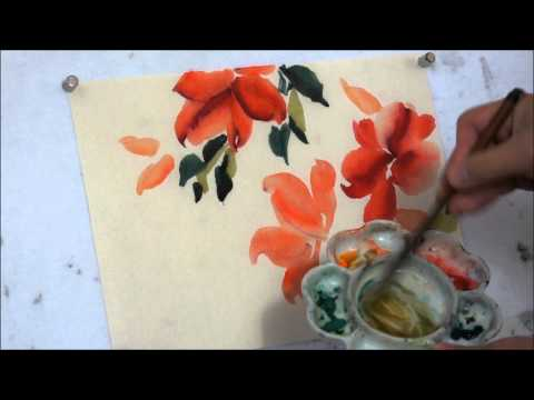 How to Paint Red Hot Hibiscus Chinese Watercolor Painting Tu