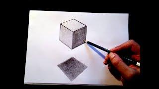 how to draw 3d cube-как нарисовать 3д кубик