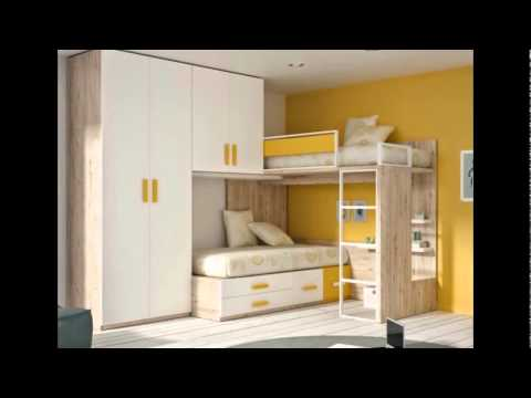 Muebles parchis literas tipo tren camas cruzadas mueble juvenil habitaciones juveniles for Habitaciones juveniles 3 camas