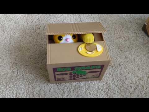 Cute Cat Automated Stealing Coin Money Box Piggy Bank Storage Saving Box