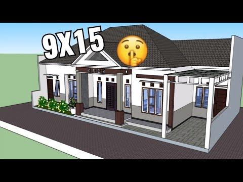 Desain rumah minimalis 9x15 dengan 4 kamar tidur dan 2 ...
