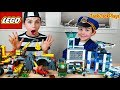 Lego city police chase at the mine  costume pretend play cops  robbers