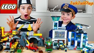 Lego City Police Chase at the Mine + Costume Pretend Play Cops & Robbers