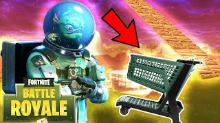 Jumping Dusty Divot With A Shopping Cart!! In Fortnite Battle Royale!