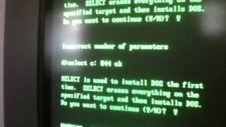 MS DOS 3.3 Setup - SELECT command Video