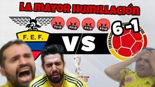 COLOMBIA vs ECUADOR ( REACCION EN VIVO ) 6-1 Si perdemos ELIMINADOS!! ACOMPAÑANOS