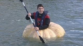 Giant pumpkin boat: Man breaks two world records in pumpkin boat