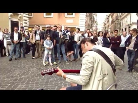 Street musician Marcello Calabrese live in Rome,