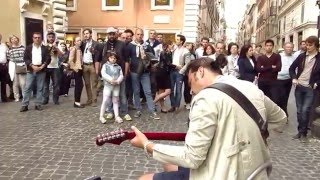 Street musician Marcello Calabrese live in Rome, Comfortably numb (Pink Floyd)