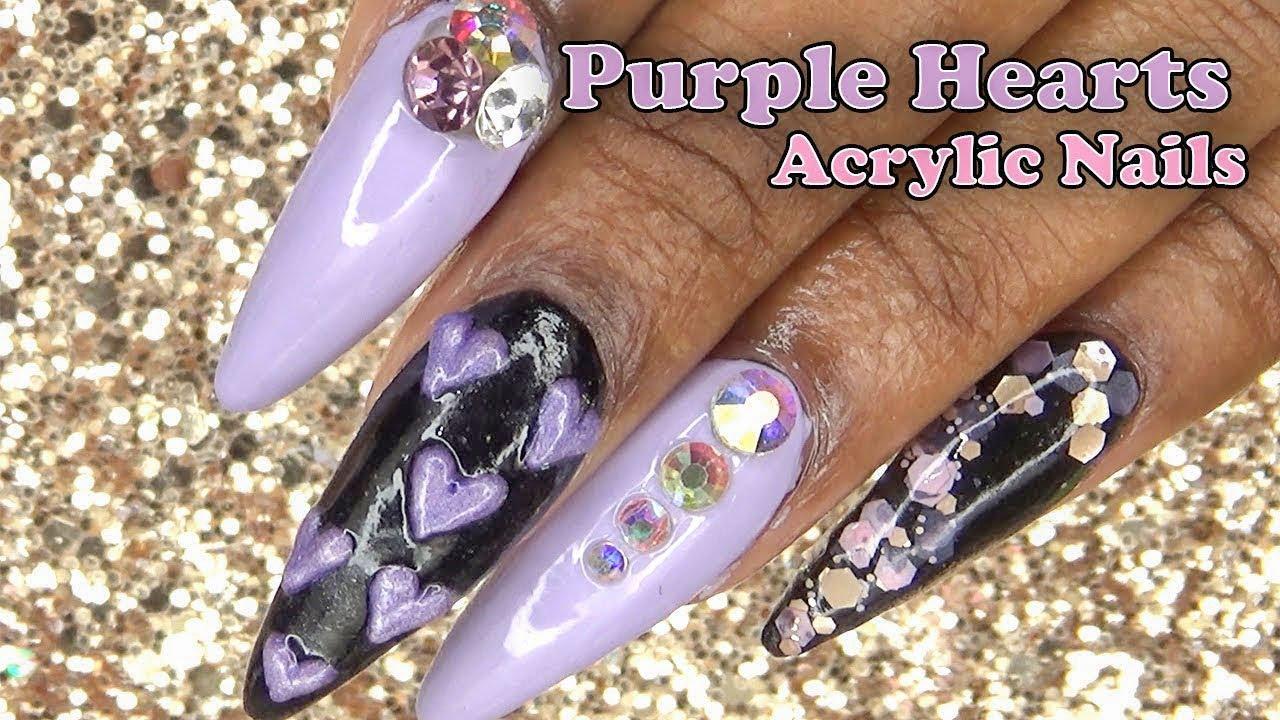 Purple hearts acrylic nails 3d acrylic nail art purple hearts acrylic nails 3d acrylic nail art longhairprettynails prinsesfo Image collections